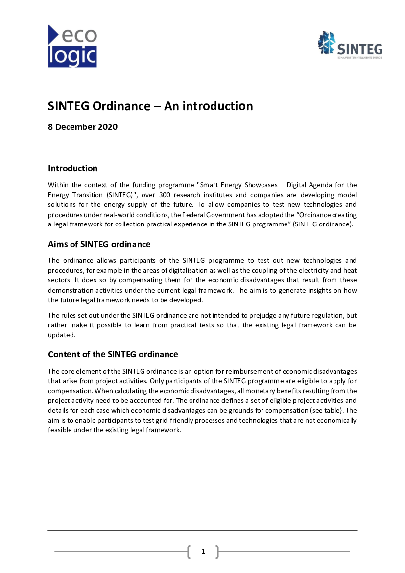SINTEG Ordinance – An introduction